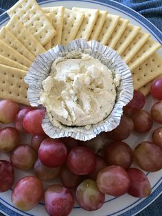 Not much effort on my part here, but a delicious combination nonetheless! Organic grapes and club crackers (thanks Whole Foods!) with Boursin - possibly the most amazing cheese in the world.