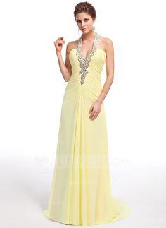 A-Line/Princess Halter Sweep Train Chiffon Evening Dress With Ruffle Beading (017026237) - JJsHouse