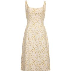 Pre-owned 1950s Rappi Cream and Gold Floral Brocade Dress ($520) ❤ liked on Polyvore featuring dresses, evening dresses, sleeveless dress, vintage gold dress, floral midi dress, gold dress and pink floral dress