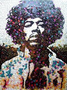 Jimi Hendrix Mosaic Made of Guitar Picks