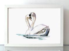 Zwaan waterverf schilderij  Zwanen Aquarel  van Zendrawing op Etsy