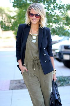 I have this jumpsuit....Thanks, Courtney, for the layering and jewelry ideas to rev it up!