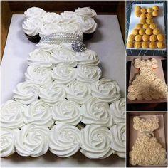 Bridal Shower Wedding Dress Cupcake Cake | Pinspired Creations – How to Make a Wedding Dress Cupcake Cake