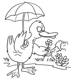 Duck with Umbrella coloring page from Ducks category. Select from 25651 printable crafts of cartoons, nature, animals, Bible and many more.