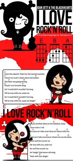 """SO stinkin' cute! Joan Jett's """"I Love Rock and Roll"""" ukulele chords in a song strip."""