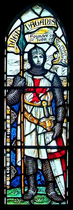 Hugh Paganis (Hugo de Payns ) (c. 1070 – 24 May 1136), co-founder and first Grand Master of the Knights Templar by Van Daele,Church of St James, Manorbier, Pembrokeshire - http://stainedglass.llgc.org.uk/image/5977