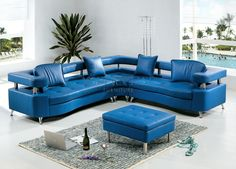 Blue Leather Sofa Sectional