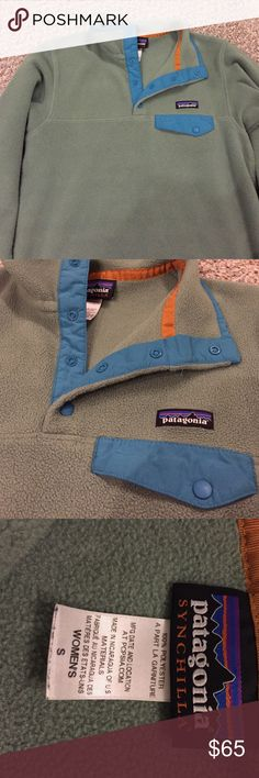 Woman's Synchilla Patagonia Fleece Woman's size small, synchilla material Patagonia pull over. Olive green and blue. Near perfect condition. Patagonia Sweaters Crew & Scoop Necks