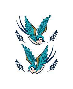 tattoo andorinhas desenho - Pesquisa Google