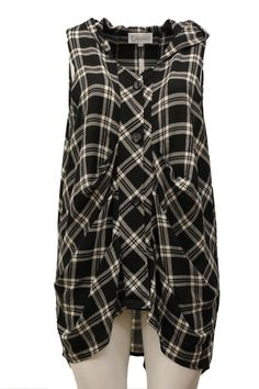 T By Transparente Missy Plus Crinkled Gauze Hooded Vest Layer Beige Plaid Check