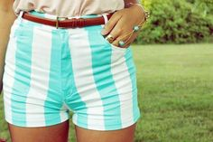 teal striped shorts