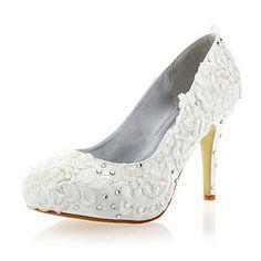 Satin/Lace Women's Wedding Stiletto Heel Heels Pumps/Heels with Rhinestone - USD $ 99.99