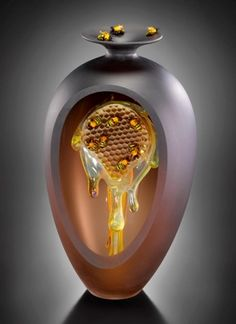 Amazing honeycomb perfume bottle. By Peter Mulher and Joe Peters.