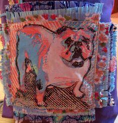 ENGLISH BULLDOG Tote Bag small Hand Printed OOAK,Purple Pink Blue Bulldog