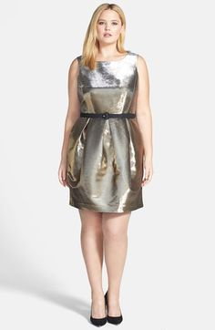 Eliza J Belted Metallic Tulip Dress (Plus Size) available at #Nordstrom