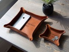 Personalized Leather Tray With Initials And Wedding Year 3rd Wedding Anniversary Gift Ideas, Leather Tray, Leather Working, Initials, Romantic, Projects, Log Projects, Romance Movies, Romantic Things