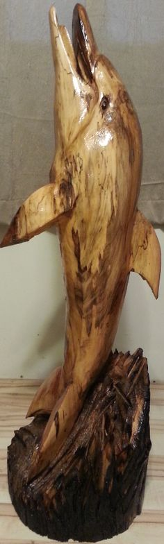 Dolphin, Chainsaw Carving, Wood Statue, Chainsaw Art, Yard Decoration