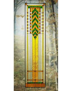 Arts and Crafts Tall Prairie Window Art Glass Panel 5