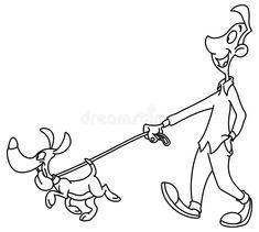Foto über Umrissener gehender Hund des Mannes Vektorlinie Kunstillustrationsfarbtonseite. Illustration von zeichnung, schwarzes, kerl - 118760639