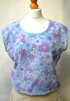 Scoop neck top, vintage fabric, flower print, purple 70's print, size small by theHouseofchickaDee on Etsy
