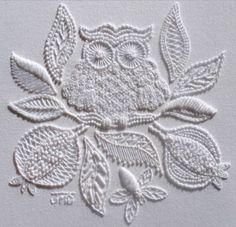"This design is the work of textile and embroidery artist Janet M. McDonald. This design features over 19 traditional Mountmellick embroidery stitches.  This pattern is titled ""Home to Roost"" and can be found on Janet's website at http://www.jmddesigns.co.nz/store/p46/Home_to_Roost_-_Mountmellick.html"
