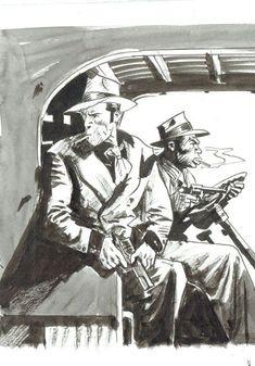 "Bernet, Jordi - unpublished original illustration ""Torpedo e Rascal"" Comic Book Artists, Comic Artist, Cartoon Images, Cartoon Drawings, Comic Book Layout, Bd Art, Comic Frame, Jordi Bernet, Sketches Of People"