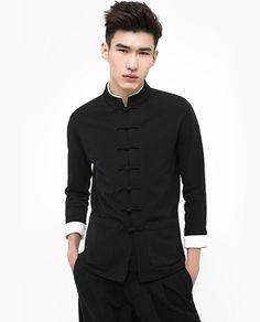 Dashing black kung fu suit