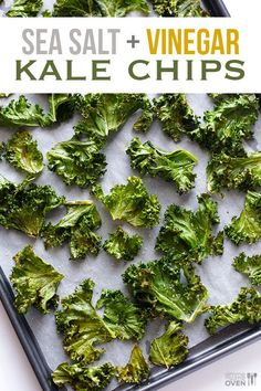 Salt and Vinegar Kale Chips Sea Salt and Vinegar Kale Chips -- a tasty, easy, and healthy alternative to the potato chip version! Sea Salt and Vinegar Kale Chips -- a tasty, easy, and healthy alternative to the potato chip version! Kale Chip Recipes, Veggie Recipes, Vegetarian Recipes, Cooking Recipes, Healthy Recipes, Healthy Appetizers, Easy Kale Recipes, Veggie Snacks, Protein Snacks