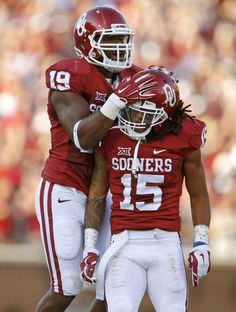 THESE ARE 2 OF MY FAVS!!! Oklahoma's Eric Striker (19) and Zack Sanchez (15) celebrate after Sanchez blocked a field goal attempt during a college football game between the University of Oklahoma Sooners (OU) and the Louisiana Tech Bulldogs at Gaylord Family-Oklahoma Memorial Stadium in Norman, Okla., on Saturday, Aug. 30, 2014. Photo by Bryan Terry, The Oklahoman
