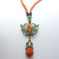 Antique Coral Kingfisher Chinese Court Necklace   eBay