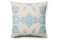 Atherton Medallion 16x16 Cotton Pillow, Gray on OneKingsLane.com