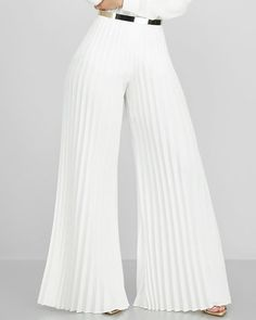Solid Pleated Wide Leg Casual Pant Shop- Women's Best Online Shopping - Offering Huge Discounts on Dresses, Lingerie , Jumpsuits , Swimwear, Tops and More. Casual Wear, Casual Pants, Fashion Pants, Fashion Dresses, Bell Bottom Pants, Overall, Pattern Fashion, Wide Leg Pants, Trendy Outfits