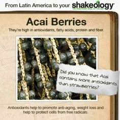 #AcaiBerries are #antioxidants which help promote #anti-aging, #healthyweightloss and help #protect cells from #freeradicals: in #your #Shakeology