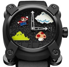 Romain Jerome Super Mario Bros Fine Watches, Cool Watches, Romain Jerome, Modern Gentleman, Super Mario Bros, Smart Watch, Art Pieces, Snes Classic, Luigi