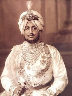 The Maharajah Of Patiala 1911 wearing some of his diamonds and natural pearls