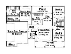 Floor Plans AFLFPW76849 - 1 Story French Country Home with 3 Bedrooms, 2 Bathrooms and 1,500 total Square Feet