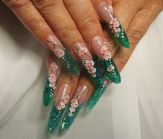 Day 175: Floating Flowers Nail Art