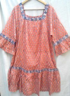 Anokhi Coral Pink Floral Hand block print Indian cotton Boho chic Hippie Festival style Dress