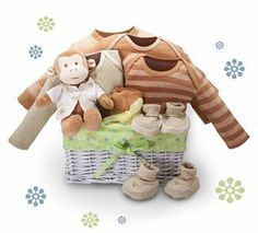 Organic Baby Gift Basket: 'Monkey Business', 1 by Kara Nessian. $149.95. Organic! - Monkey Business Baby Gift BasketWhite Wicker Nursery Basket with Adorable Lining100% Organic Onesie in Chestnut (Size 3 - 6 Mos)100% Organic Onesie in Green Tea (Size 3 - 6 Mos)100% Organic Gown (Size 3 - 6 Mos)100% Organic Romper in Green Tea (Size 3 - 6 Mos)100% Organic Booties - 2 Pairs (Size 3 - 6 Mos)100% Organic Footed Leggings in Green Tea (Size 3 - 6 Mos)Organic Plush Fred the ...