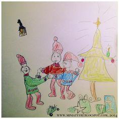 Tonttujen piiritanssi - Elves dancing in circle - Miniatyyrian joulukalenterista - From the Miniatyyria Christmas calendar