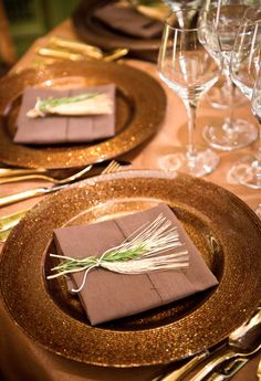 too much gold, but sweet idea - Wheat for fertility and rosemary for fidelity at each place setting.Meridian House Wedding - Photo by Greg Gibson Gold Wedding Theme, Purple Wedding, Wedding Details, Fall Wedding, Wedding Decor, Wedding Reception Table Decorations, Table Centerpieces, Reception Ideas, Wedding Napkin Folding