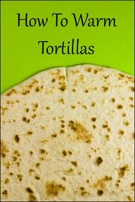 HOW TO WARM TORTILLAS ... 1) Place tortillas over the medium flame of a gas burner until slightly charred, about 30 seconds per side. 2) You can also toast in a dry skillet until softened  speckled with brown spots, 20-30 seconds per side. 3) Wrap a stack of tortillas in aluminum fool and heat in a 350 oven for 5 minutes. 4) Keep warmed tortillas wrapped in foil or a dish towel until ready to use or they will dry out.