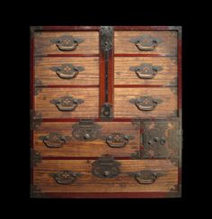 Isho Dansu clothing chest with locking bar from Matsumoto in Nagano prefecture, Japan. Kiri wood drawer interiors and faces. Lacquered sugi wood case. Hand forged and stippled lock plates distinctive to Matsumoto. Beautiful original patina. Meiji Era.