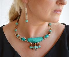 Turquoise Silver NecklaceChoker by AroundBeads on Etsy, $65.00