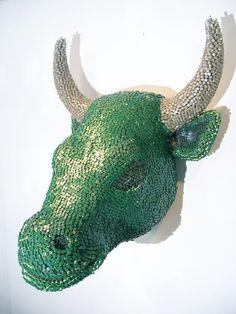 Bull,  crayon sculpture Herb Williams