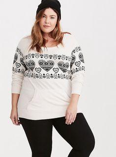Plus Size Fair Isle Heart Sweater, CLOUD DANCER