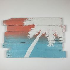 Beach Decor Palm Tree on Sunset Over Blue Sea Tropical Wall Hanging Right Lean…