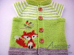 Knitting pattern newborn cardigan.Green cardigan with fox.Newborn vest.Unisex baby cardigan.PDF patern.