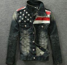 Retro Mens Washed Vintage Motorcycle Denim Jean Flag Patch Jacket Coat Outwear | eBay