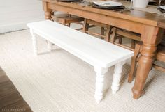 This simple farmhouse bench is a great beginner build and a perfect project for enlisting young helpers. Woodworking Workbench, Woodworking Furniture, Woodworking Projects, Woodworking Equipment, Router Woodworking, Woodworking Videos, Furniture Makeover, Diy Furniture, Furniture Design
